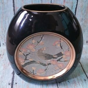Chokin black hummingbird oval vase w/ gold trim